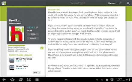 Galaxy tab 10.1 Hulu
